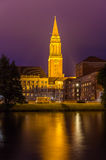Night view of Kiel city hall Stock Image
