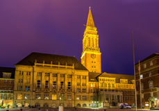 Night view of Kiel city hall Royalty Free Stock Photos