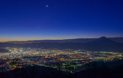 Night view of the Kofu city and Mt.Fuji Royalty Free Stock Image