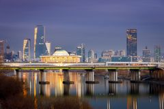 Night view of Korea National Assembly Proceeding Hall in Seoul city. Night view of Korea National Assembly Hall with Han river in Seoul city, South Korea Stock Images