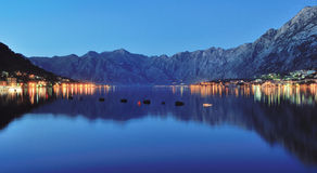 Night view of Kotor Bay Stock Images