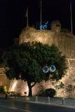 Night view of Kotor Fortress wall and bay in Kotor Bay, Montenegro Royalty Free Stock Photos