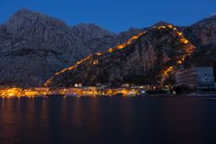 Night view of Kotor Fortress wall Royalty Free Stock Image