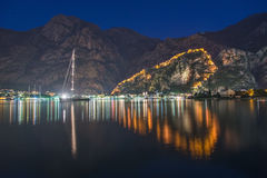 Night view of Kotor Fortress wall up to Lovcen Mountain. Montene Stock Images