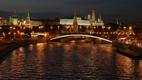 Night view of the Kremlin, Big Stone Bridge stock video