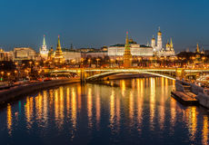 Night view of the Kremlin and Big Stone bridge. Royalty Free Stock Images