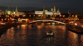 Night view of the Kremlin, Bolshoy Kamenny Bridge stock video
