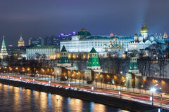 Night view of the Kremlin and the Moscow River Royalty Free Stock Photos