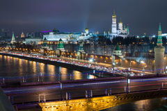 Night view of the Kremlin and the Moscow River Royalty Free Stock Photo