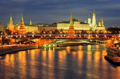 Night view of Kremlin and Moscow river embankment. royalty free stock images