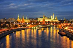 Night view of Kremlin and Moscow river embankment. Royalty Free Stock Photo