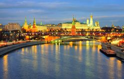Night view of Kremlin and Moscow river embankment. stock image