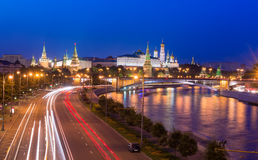 Night view of Kremlin and Moscow River in Moscow Royalty Free Stock Photo