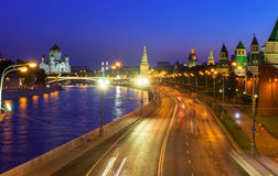 Night view of Kremlin and Moscow River in Moscow Stock Photo