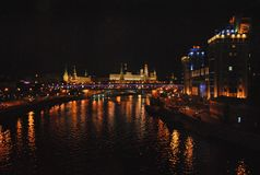 Night view of the Kremlin and Moscow - river Stock Photos