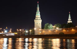 Night view of the Kremlin, Moscow, Russia--the most popular view of Moscow Stock Photos