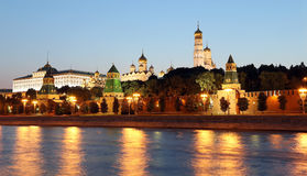 Night view of the Kremlin, Moscow, Russia--the most popular view of Moscow Royalty Free Stock Photography