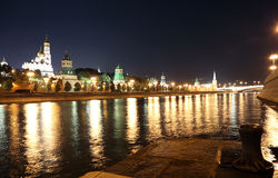 Night view of the Kremlin, Moscow, Russia--the most popular view of Moscow Royalty Free Stock Images