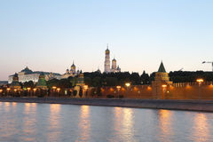 Night view of the Kremlin, Moscow, Russia--the most popular view of Moscow Stock Images