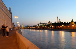 Night view of the Kremlin, Moscow, Russia--the most popular view of Moscow Royalty Free Stock Image