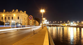 Night view of the Kremlin, Moscow, Russia--the most popular view of Moscow Royalty Free Stock Photo