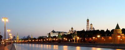 Night view of the Kremlin, Moscow, Russia--the most popular view of Moscow Royalty Free Stock Photos