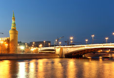 Night view of the Kremlin, Moscow, Russia--the most popular view of Moscow Stock Photography