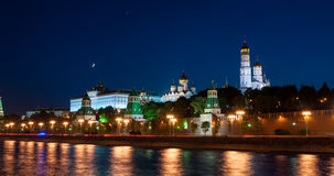 Night view of Kremlin, Moscow stock footage