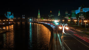 Night view of Kremlin, Moscow stock video