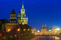 Night view of Kremlin and Red Square in Moscow Stock Images