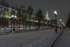 Night view of the Kremlin wall and the Moscow Kremlin in winter stock images