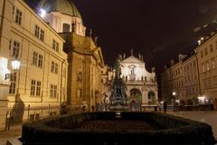 Night view of the Krizovnicke namesti square next to the Charles Bridge in Prague, Czech Republic Stock Photos