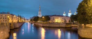 Night view on Kryukov Canal and St. Nicholas Naval Cathedral Royalty Free Stock Photo