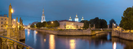 Night view on Kryukov Canal and St. Nicholas Naval Cathedral Royalty Free Stock Photography