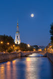 Night view on Kryukov Canal and St. Nicholas Naval Cathedral Royalty Free Stock Photos