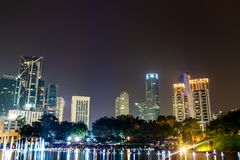 Night view of Kuala Lumpur city in downtown stock photos
