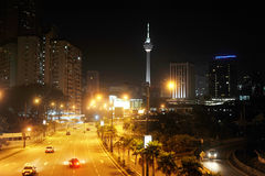 Night view of Kuala Lumpur downtown Royalty Free Stock Photography