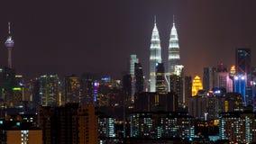 Night view of Kuala Lumpur skyline. KUALA LUMPUR, MALAYSIA - 16TH JUNE 2015 : View of The Petronas Twin Towers during sunset on April 6, 2015 in Kuala Lumpur Stock Photography