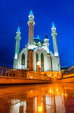 Night view of the Kul Sharif Mosque in Kazan Stock Images