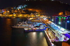 Night view of Kusadasi Turkey. Travel background Stock Image