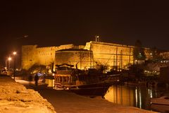 Night view of the Kyrenia Castle and old harbour in Northern Cyprus. royalty free stock photography