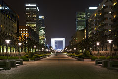 Night view of La Défense. Perspective a night view of the Grand arch in the financial and business district of Paris - La Défense Stock Images