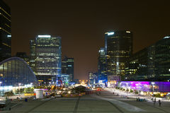 Night view of  La Défense. Royalty Free Stock Photo