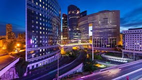 Night view of La Defense quartier. Royalty Free Stock Image
