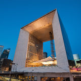 Night view of La Grande Arche. PARIS, FRANCE - MAY 18, 2014:The Arche is in the approximate shape of a cube (110mt) and was inaugurated in July 1989, for the Royalty Free Stock Photos