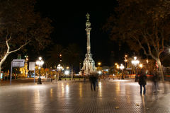Night view of the La Rambla. Catalonia Royalty Free Stock Photos