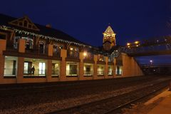 Night view of the Lafayette Station. Indiana Stock Photography