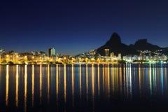 Night view Lagoon Rodrigo de Freitas (Lagoa), Rio de Janeiro Stock Image