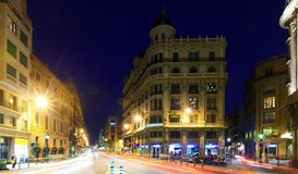 Night view of  Laietana street   in Barcelona Stock Photo