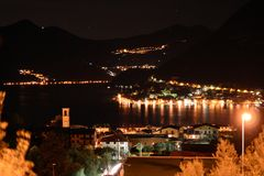 Night view of lake Iseo, Lombardy, Italy Stock Image